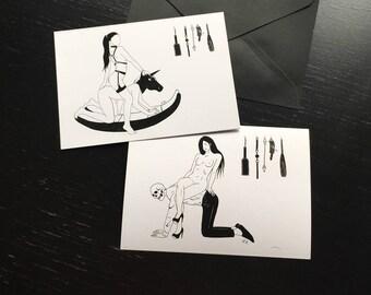 Furniture Boy /  Fetish Unicorn / Lovers Couple BDSM Worship Kink / Erotic Art Print / Greeting Post Card