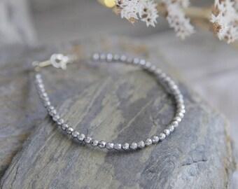 Silver Bead Bracelet, Silver Bracelet, Bead Bracelet, Thin Bracelet, Stacking Bracelet, Silver Beaded Bracelet, Everyday Silver Jewelry