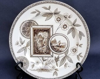 Antique Aesthetic Brown Transferware Plate, Victorian Plate, 9.25 Inches, Staffordshire Pottery, James Beech Potteries, Parek, 1885