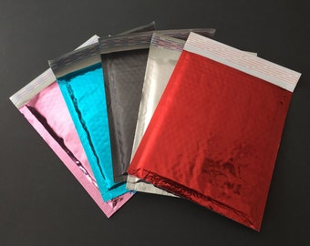 20 6x9 YOU CHOOSE Metallic Bubble Mailers Size 0 Red Black Teal Pink Silver Self Sealing Shipping Envelopes