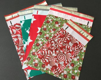 50 10x13 and 6x9 Designer CHRISTMAS Poly Mailers 10 Each Deer Hollyberry Stars Candy Canes Envelopes Shipping Bags Christmas