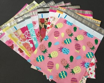 100 10x13 EASTER and FLOWER Assortment  Rabbits Easter Pineapple Roses Hibiscus Designer Poly Mailers 10 each Envelopes Shipping Bags Spring