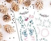 Eucalyptus soft watercolor planner stickers boho