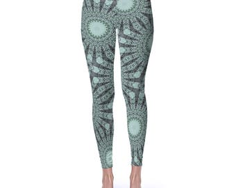 Nature Inspired Green Boho Yoga Pants - Forest Green and Mint Green Mandala Art Leggings, Printed Yoga Tights