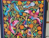 Gamal Kolthoma is showing one of his last splendid pieces, Birds Design in Dark Background, Multi Colors, Tentmakers Of Cairo!