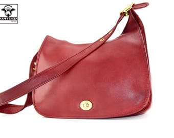 COACH Legacy Crescent Flap Messenger Steward Bag Handbag No. 9718 - Wine Red Burgandy Shoulder Bag