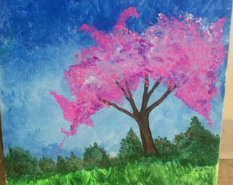 Cherry blossom tree acrylic painiting 12x16