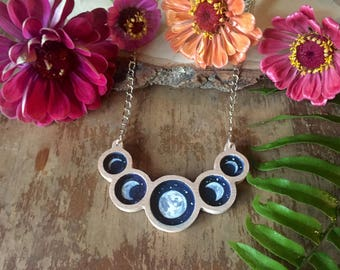 moon phases wooden necklace, statement, lunar, boho, gift for her