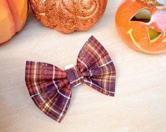 Maroon Plaid Bow Tie