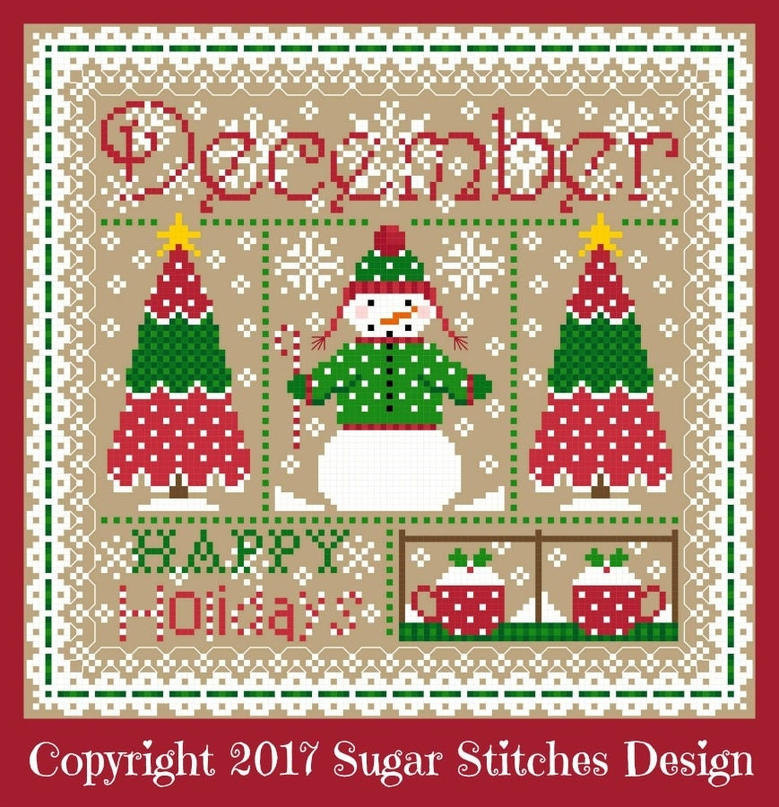 December monthly sampler cross stitch chart pdf from
