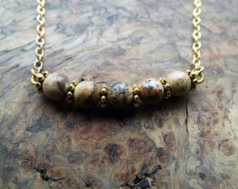 Brown lava beads pendant necklace - gold chain