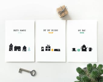 Pack of 3 greeting cards, happy birthday postcard hooray, new home greeting card happy always, get well soon card big hug, simple cards