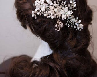 WEDDING SAMPLE SALE white silver hair comb, crystal hair slide, bridal headpiece, crystal hair comb, mother of pearl, flower vintage comb