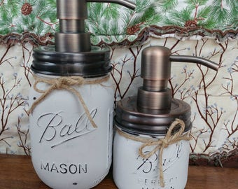 2pc Mason Dispensers - SMOKE - light grey - mason jar bathroom - office - soap - sanitizer
