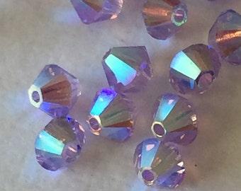 Swarovski Crystal Light Purple Beads - 4mm Bicone Crystals - Amethyst AB2X - Package of 24