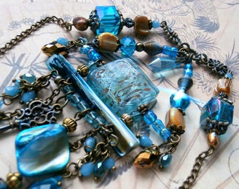 "Blue Art deco ""Ikumi"" necklace for wedding, birthday, gift"
