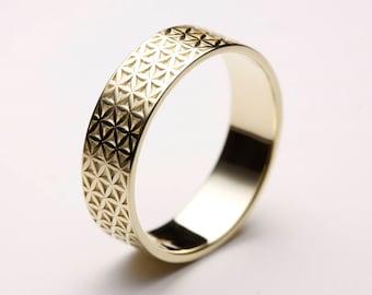 Flower of Life Ring, Flower of Life Wedding Ring, Flower of Life Band, Gold Flower of Life, Seed of Life Ring, Zen Ring, Gold Flower Ring