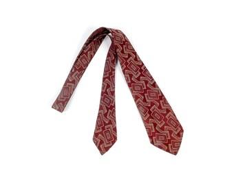 Vintage 30s Necktie - 30s Tie - 30s Cravat - 30s Brocade Necktie - 30s Abstract Necktie - 30s Surrealist Necktie - Ken Stone - Red Gold