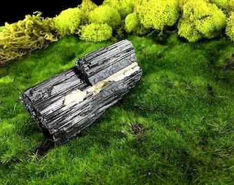 """Raw Rough Shiny Black Tourmaline Quartz & Mica 3 3/4"""" Log Schorl 12.1 oz. A12204"""