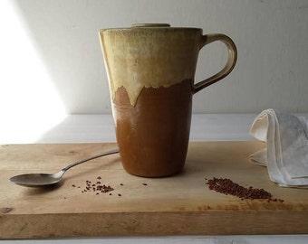 Ceramic Travel Mug, Coffee Travel Mug, Ceramic Mug With Lid, Beige Pottery Travel Mug, Ceramic Coffee Mug, Travel Tea Cup, Pottery Tea Cup