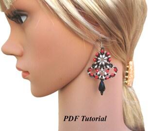 """DIY Earrings, PDF Pattern, Earrings Patterns, Beaded Earrings, Superduo Tutorial, Beading Pattern, Jewelry Pattern, """"Fiesta"""" Earrings"""