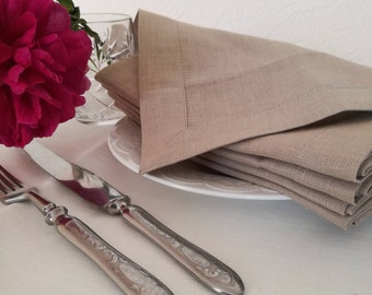Beige Linen Napkin Set of 6 8 10 12 - Linen Dinner Napkins - Wedding Linen Napkins - Christmas napkin set - Christmas table decor - Easter