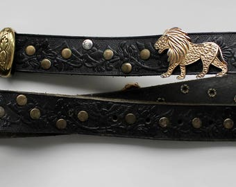 Vintage leather and gold belt with studs and lions