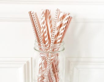 Rose Gold Paper Straws • Foil Straws • Bridal Shower Decor • Wedding Decor • Baby Shower Decor • Bachelorette Party • Birthday Decor