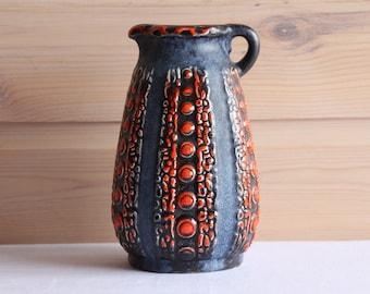 Vase Dumler & Breiden, West Germany, Orange Blue Grey, 63-17, Vintage Retro 70's