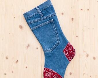 Rustic Denim Christmas Stocking - Red Bandanna - Christmas Stocking - Country Christmas Decor - Farmhouse Christmas - Jean Stocking