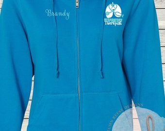 Monogrammed Ladies/Unisex Full-Zip Hooded Sweatshirt Respiratory Therapist RT Customized Personalized XS - 5XL Jacket