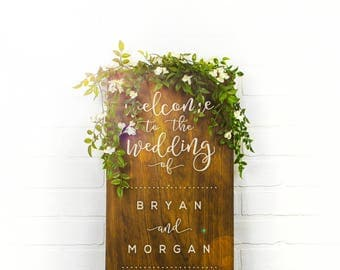 Welcome To Our Wedding Sign, Couples Name Sign, Wedding Date Sign, Custom Wood Sign, Engagement Gift, Wedding Gift, Wedding Decor (GP1123)