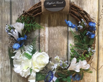 "12"" blue wreath, small wreath, cute wreath, spring wreath"