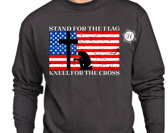 Stand for the flag  kneel for the cross distressed SVG DFX Cut file  Cricut explore file  wood sign Patriotic t shirt Commercial license
