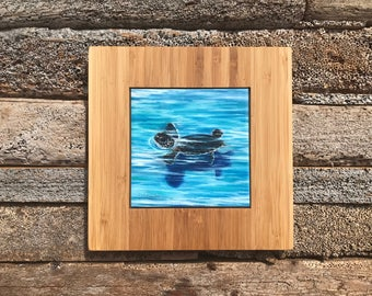 First Swim Hatching Turtle Trivet