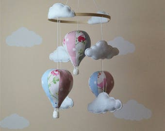 Clarke and Clarke birdtail hot air balloon baby mobile MADE TO ORDER