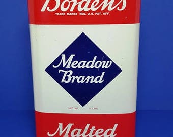 Vintage Borden's  Meadow Brand Malted Milk Tin 1950's