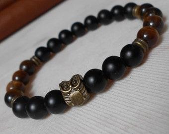 Bead Mens Bracelet Men Owl Bracelet Shungite Bracelet for Men Black Beaded Bracelet Tiger Eye Bracelet Black Bracelet for Men Bracelet Owl