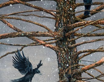 """Watercolor print, """"Corvus Corvidae and the Cedar"""", 8"""" x 10"""" matted to fit an 11"""" x 14"""" frame"""