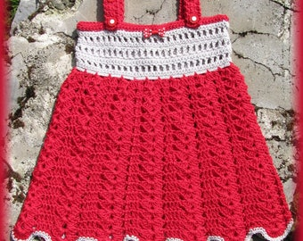 Dress with shoulder straps adjustable knit girl hand crocheted cotton and bamboo red and gray