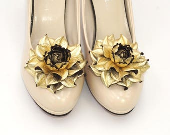 Genuine LEATHER flower SHOE CLIPS|Metallic leather gold flower shoe decoration|Gold shoe jewelry|Gold shoe clips|Metallic gold shoe clip ons