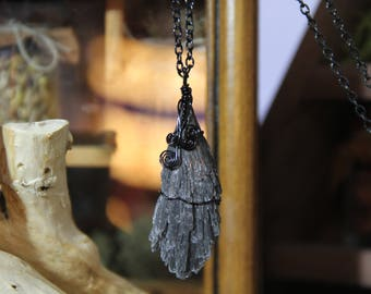 Black Kyanite Pendant Necklace, Jewelry, Crystal, Crystals, Crystal Pendant