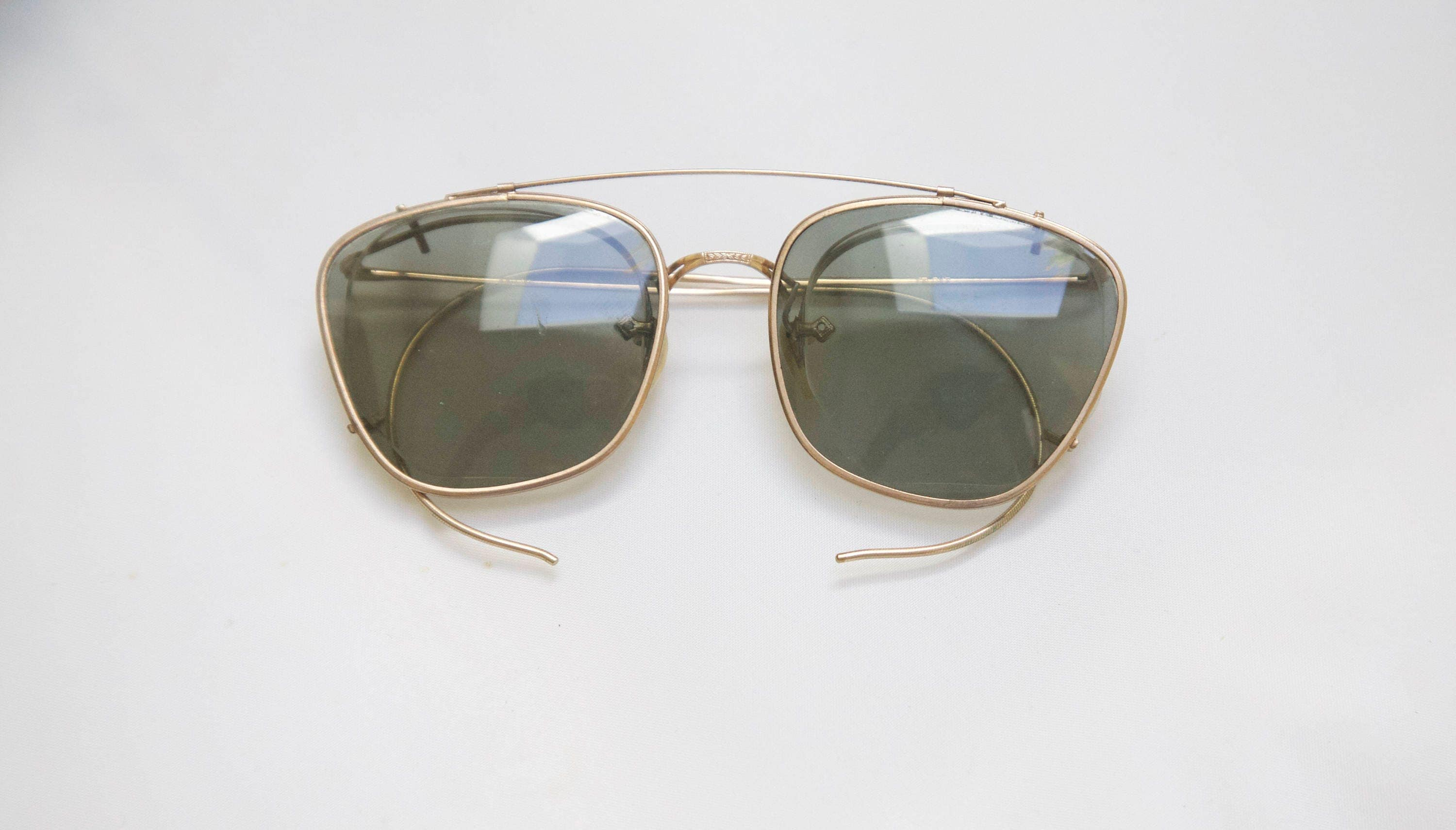 7457c54425 Imperial Antique Optical Frames with clip on sunglass lenses   Gold Filled    1910 s to 1920 s