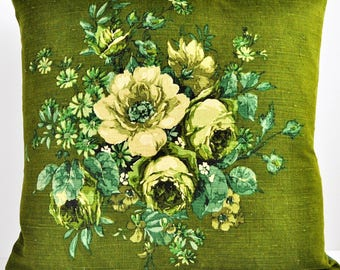Vintage Fabric Cushion in Green 1960s Sanderson Floral Windlesham Fabric