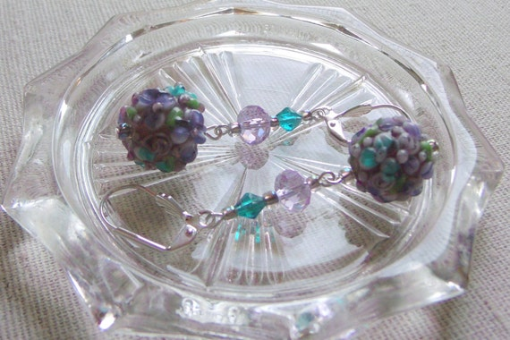 Gorgeous Earrings lilac floral lamp work design , dangle jewelry, spring look,  round glass dish set , mothers day  gift , Lizporiginals