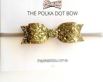 Gold Baby Headbands | Toddler Headbands | Glitter Baby Headband | Baby Headband | Glitter Baby Bows | Gold Baby Headband | Glitter Gold Bow