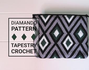 Diamando Tapestry Crochet Pattern / Crochet Bag Pattern / Tapestry Crochet Pattern / Clutch Pattern / Crochet Bag / Crochet Pattern / Wayuu