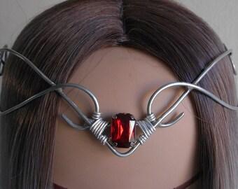 Medieval tiara, gothic tiara, crown, diadem with red artificial gemstone