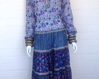 Vintage 70's Indian Boho Sheer Cotton Gauze Ethnic Floral Hippie Bohemian Festival Tent Midi DRESS