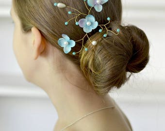 Bridal blue hydrangea pin hair vine Wedding blue hair piece hydrangea pearl head back pin Wedding blue jewelry hair vine